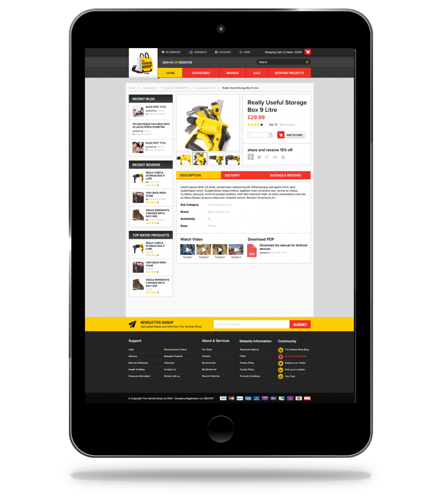iPad- E-commerce site