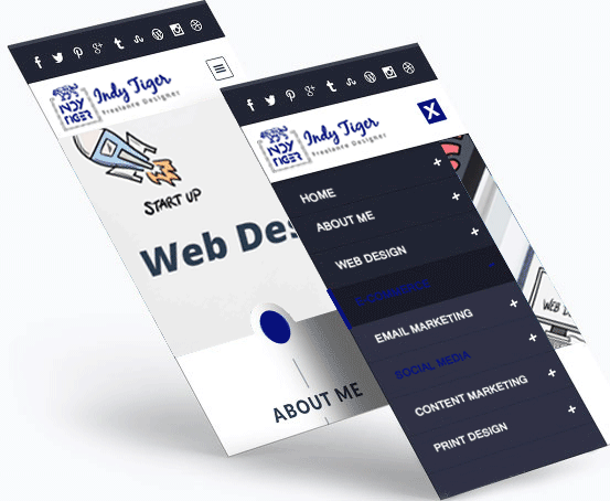 Web design page on an android phone screen